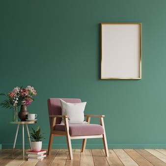 Cartel en blanco en el diseño de interiores de la sala de estar moderna con la pared vacía verde. representación 3d