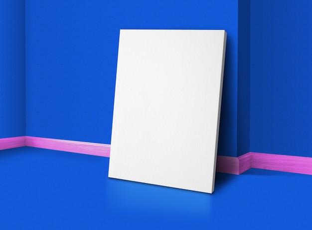Cartel en blanco en la esquina de la habitación de estudio con detalles en azul y rosa con fondo de pared y piso