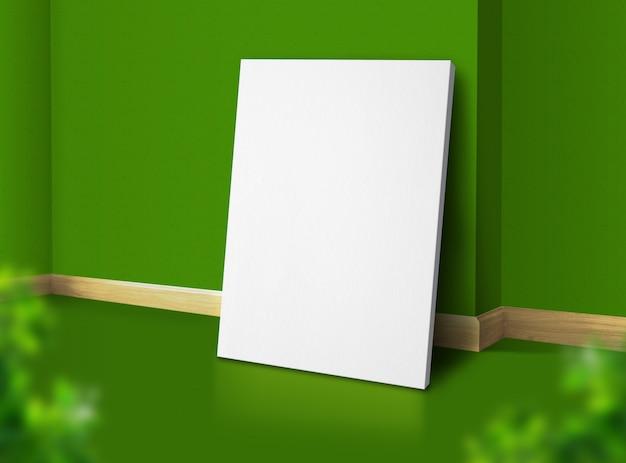 Cartel en blanco en la esquina de la sala de estudio verde natural con fondo de pared y piso con hoja