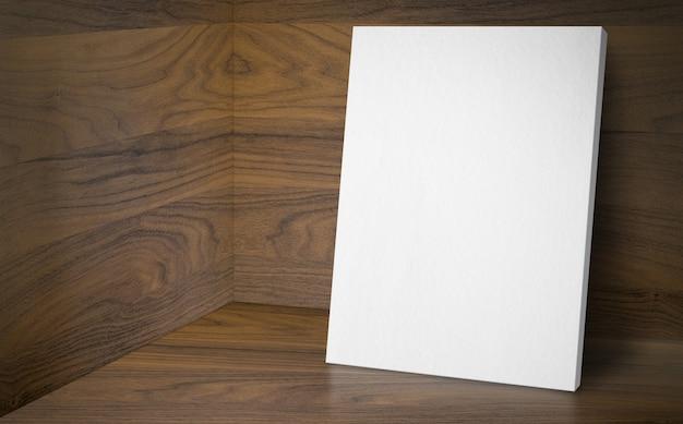 Cartel en blanco en la sala de estudio de esquina con piso y pared de madera