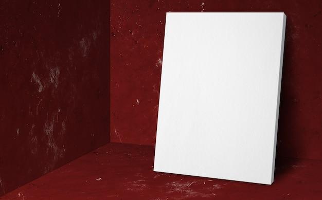 Cartel en blanco en la sala de estudio rojo de esquina con fondo de pared y piso de concreto