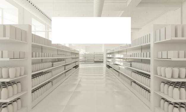 Cartel colgante en supermercado