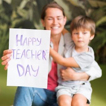 Cartel del día del maestro feliz