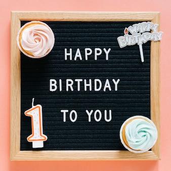 Cartel con elementos de cumpleaños en las esquinas