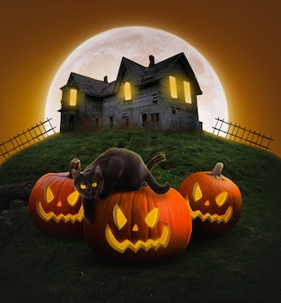 Cartel de fiesta de halloween fondo decorativo de halloween calabazas aterradoras y gato negro