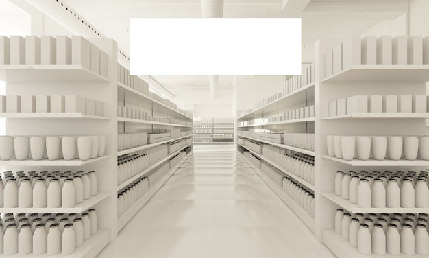 Cartel horizontal en supermercado blanco