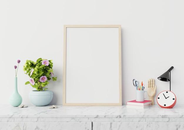 Cartel interior en blanco para el hogar con vertical en gabinete de mármol, renderizado 3d