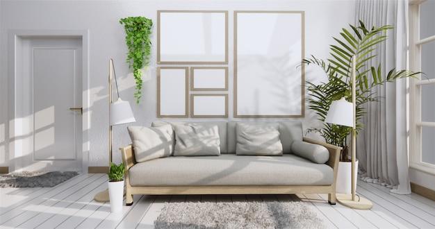 Cartel interior con marco, sofá, planta y lámpara en salón estilo zen. .