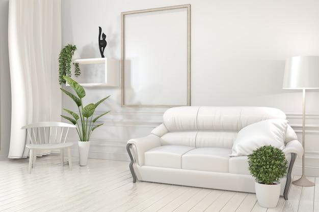 Cartel interior con marcos de madera, sofá, planta y lámpara en salón con diseño minimalista de pared blanca.