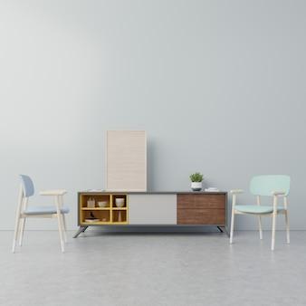 Cartel interior de mock up con mueble en salón, sillón y árbol con pared azul oscuro.