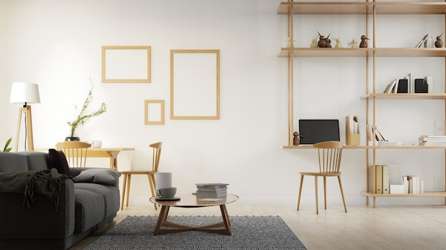 Cartel interior salón con sofá