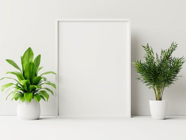Cartel interior simulacro con maceta, flor en la habitación con pared blanca.