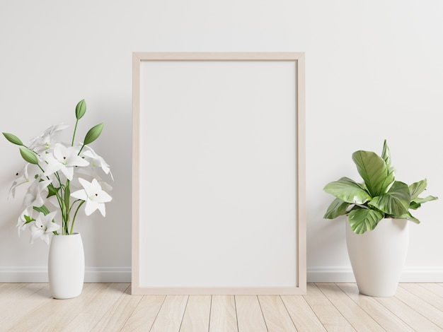 Cartel interior simulacro con macetero, flor en la habitación con pared blanca
