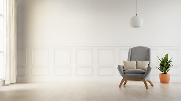 Cartel interior simulacro sala de estar con sofá blanco colorido. representación 3d