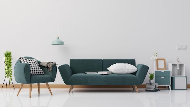 Cartel interior simulacro sala de estar con sofá blanco colorido