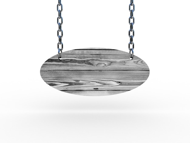 Cartel de madera colgando de cadenas