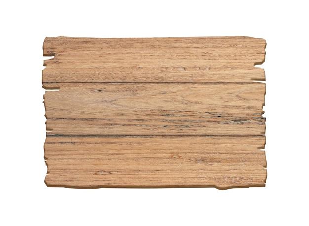 Cartel de madera marrón aislado sobre fondo blanco.