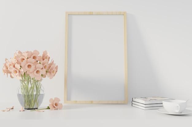 Cartel de la maqueta con el marco que se coloca en el escritorio en sala de estar. representación 3d. - ilustracion