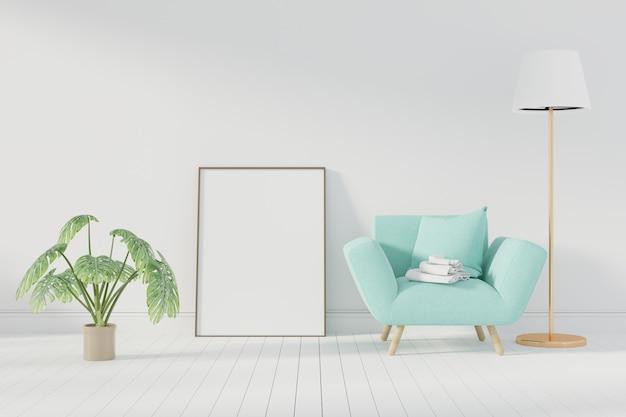 Cartel de la maqueta con el marco que se coloca en piso en sala de estar. representación 3d. - ilustracion