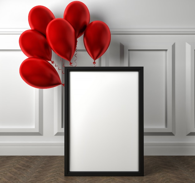 Cartel de marco en blanco y globos rojos en el piso. ilustración 3d