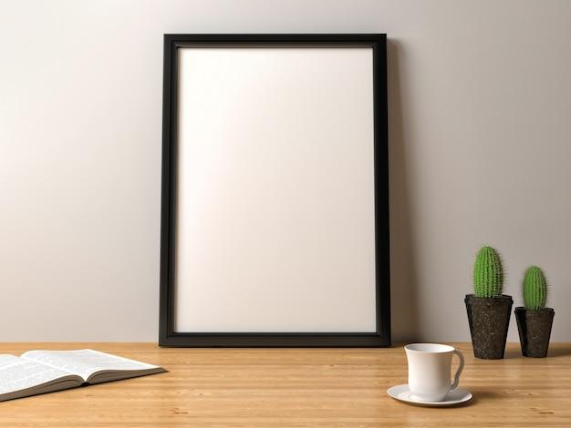 Cartel de marco en blanco sobre la mesa