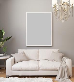 Cartel en marco blanco sobre pared clara en interior de lujo clásico con sofá blanco