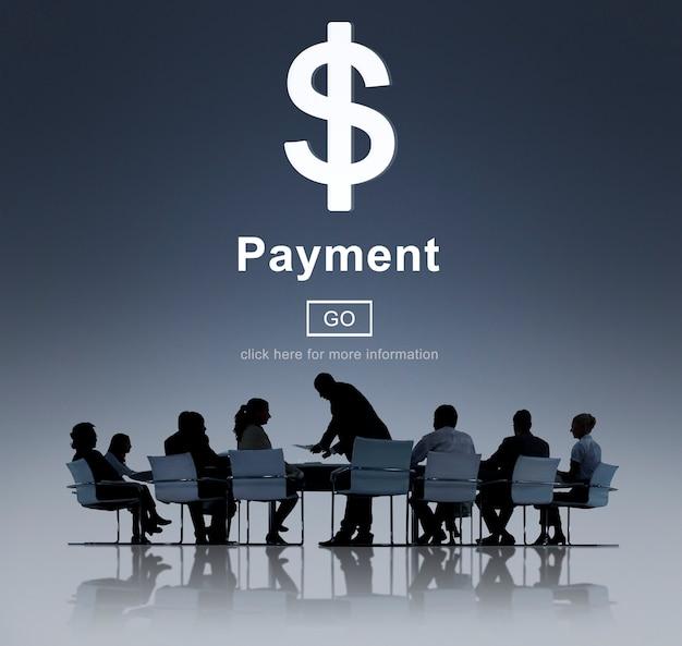 Cartel de negocios financieros con texto de pago.