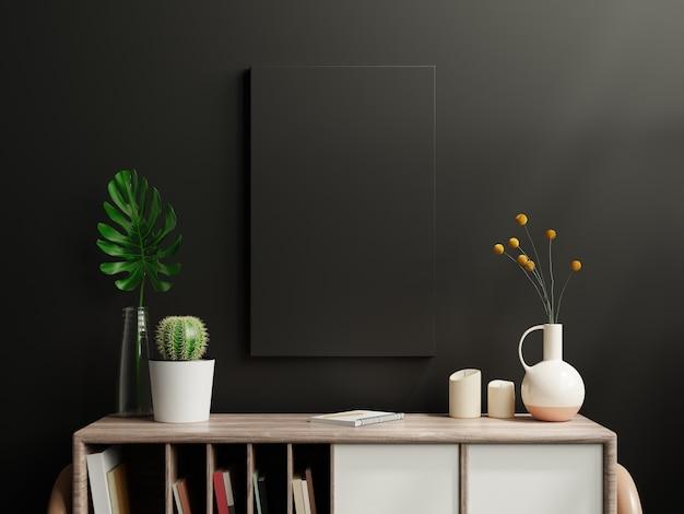 Cartel negro de la maqueta en el gabinete en el interior de la sala de estar en la pared oscura vacía, representación 3d