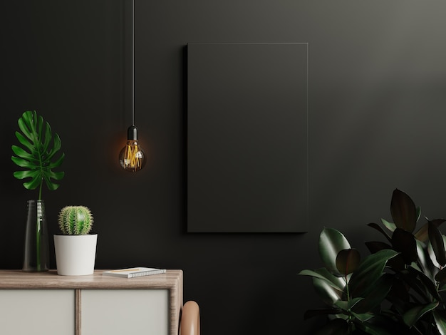 Cartel negro de la maqueta en el interior de la sala de estar en el fondo de la pared oscura vacía, representación 3d