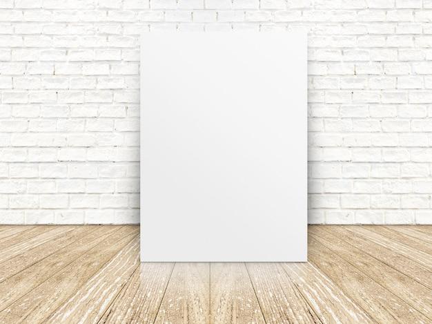 Cartel de papel en la pared de ladrillo blanco y el piso de madera, plantilla para su contenido
