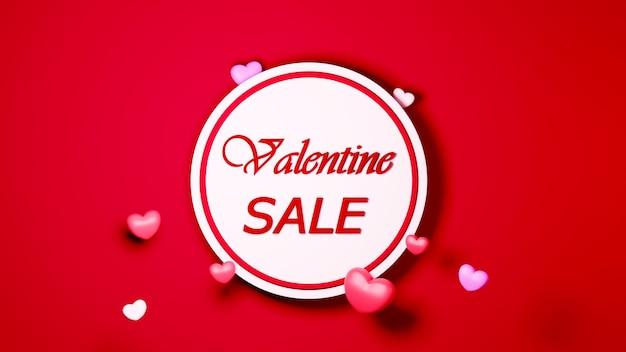 Cartel de venta de san valentín en concepto de celebración de fondo rojo para mujeres felices, papá mamá, dulce corazón,