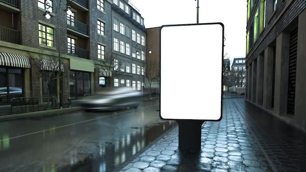 Cartelera publicitaria en la calle de la ciudad en la noche