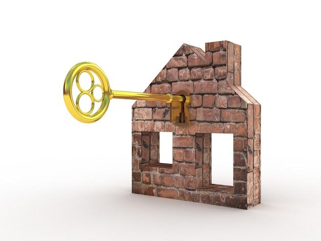 Casa abstracta de llave de oro