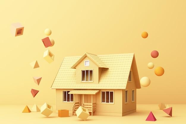 Casa amarilla rodeada de muchas formas geométricas amarillas y renderizado 3d