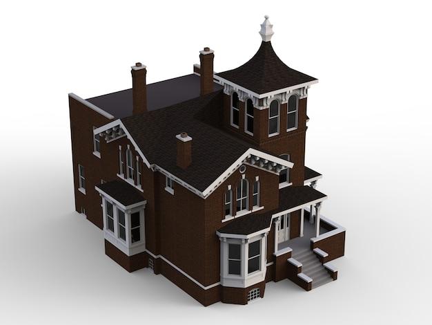 Casa antigua de estilo victoriano. ilustración sobre fondo blanco. especies de diferentes lados. representación 3d.