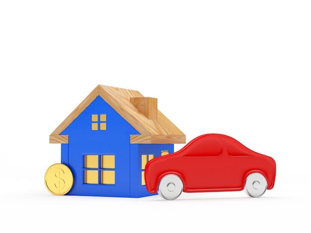 Casa azul, coche rojo y moneda.