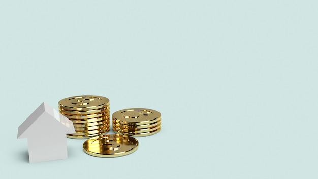 Casa blanca y monedas de oro para propiedad
