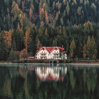 Casa blanca y naranja al lado del bosque y cuerpo de agua