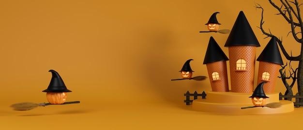 Casa de brujas y calabazas brujas friendo con escoba sobre fondo amarillo concepto de halloween representación 3d