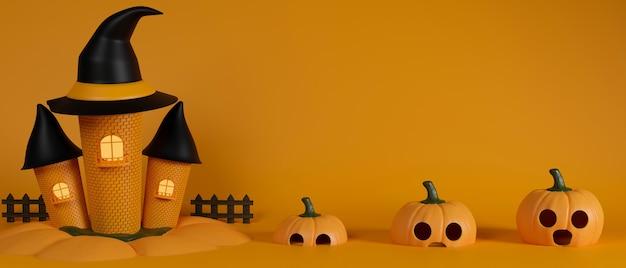 Casa de brujas y calabazas sobre fondo amarillo concepto de halloween 3d rendering ilustración 3d
