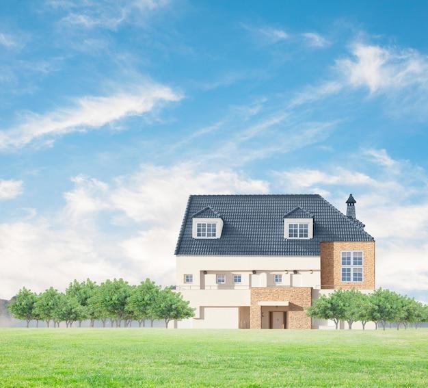 Casa de campo con árboles verdes