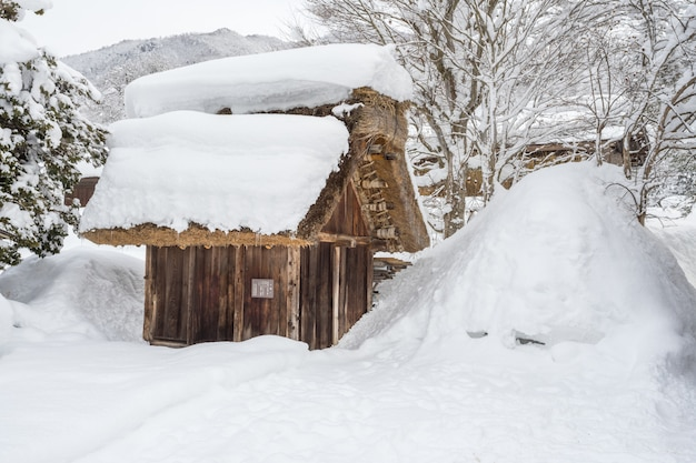 La casa de campo tradicional en shirakawa va pueblo, japón.