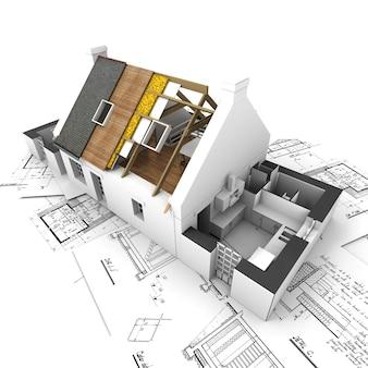 Casa con capas de techo expuestas sobre planos de arquitecto.