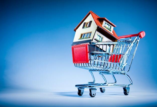 Casa en carrito de compras en una pared azul