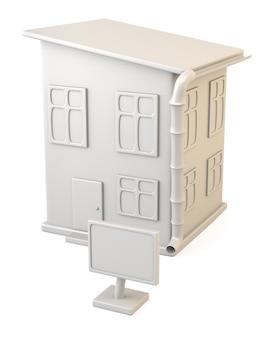 Casa con cartel en blanco aislado sobre fondo blanco.