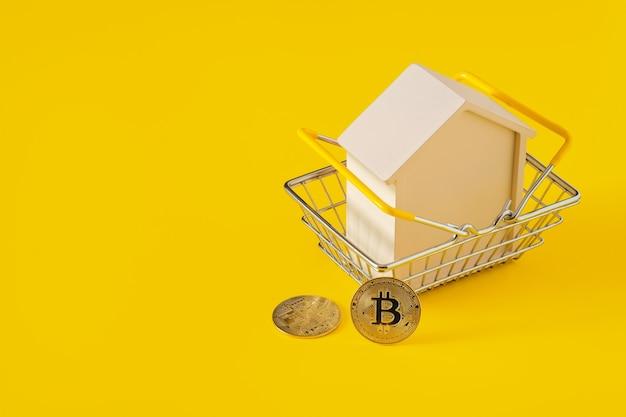 Casa en una cesta de la compra y bitcoins.