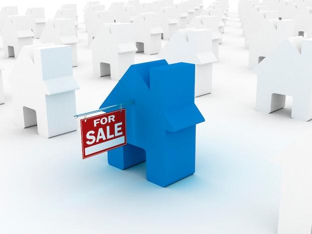Casa coloreada para la venta, render 3d
