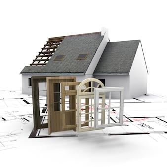 Una casa en construcción, con planos y una selección de ventanas y puertas.