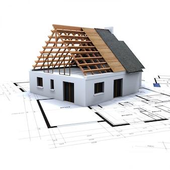 Casa en construccion y planos