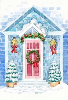 Casa decorada con elementos navideños.